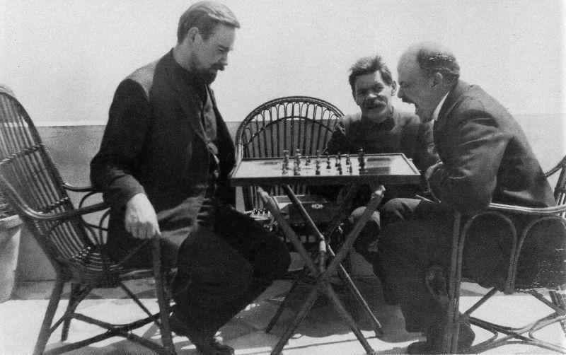 Slavena fotogrāfija - Bogdanovs spēlē šahu ar Ļeņinu